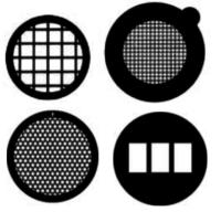 Griglie TEM diametro standard di 3,05 mm  disponibili da 50 a 2.000 mesh (ultra fine). Marcate al centro e/o sul bordo per identificare orientamento e lato. Disponibili in rame (Cu), nickel (Ni), oro (Au), molibdeno (Mo), rame/palladio (Cu/Pd)