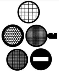 Griglie TEM diametro standard di 3,05 mm  disponibili da 100 a 400 mesh.  Sono le griglie più rigide sul mercato. Center Reference, Veco Thick-Thin Bars, Veco Hexagonal mesh, Single Hole e Single slot.  Disponibili in rame (Cu), nickel (Ni) e oro (Au).