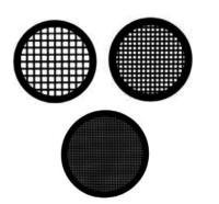 Griglie TEM diametro standard di 3,05 mm  disponibili da 100 a 400 mesh.  Placcate con il rodio per meglio identificare i lati della griglia e eliminare l'ossidazione.  Disponibili in rame (Cu) e nickel (Ni)