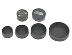 Cappucci rigidi in polietilene  per proteggere supporti metallografici o petrografici