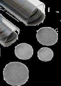 Dischi magnetici in acciaio inossidabile (lega 430) di alta qualità per microscopia a forza atomica, con bordi lisci e superfici piatte. I dischi AFM / STM misurano 20 gauge (0,91 mm) e hanno uno spessore da da 0,835 mm a 0,988 mm. Disponibili nei diametri 6, 10, 12, 15 e 20 mm, forniti in confezione di 50 in un tubo trasparente che si adatta al PWD / AFM / STM Diskpenser