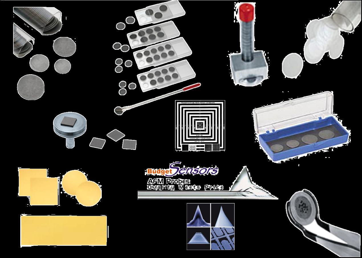 Mica Disc<br>Dischi AFM/STM<br>Scatole<br>Punte AFM<br>Calibrazion<br>Colle e pinzette