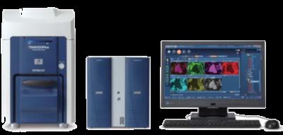 Esempio di configurazione del sistema EDS Oxford Aztec in combinazione con il SEM Hitachi TM4000 Il detector (Prodotto da Oxford Instruments (Regno Unito)) non è visibile in quanto rimane all'interno del SEM, per un layout più compatto ed elegante.