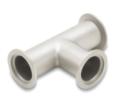 """I raccordi a """"T"""" standard e con riduttore (una flangia con diametro inferiore alle altre due) sono disponibili in acciaio inossidabile 304L e alluminio 6061-T6."""