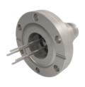 Passanti per strumentazione con connettività multipin ad alta tensione, fino a 12.000 V (12 kV) e 13 A, configurazioni a terminazione singola. Disponibili versioni flangiate CF e KF.