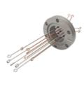 Passanti per termocoppie per connettività di tipo T (campo di misurazione da -184 a 400C), terminazione ad anello e a vite. Disponibili versioni flangiate CF e KF, con piastra di base e NPT.